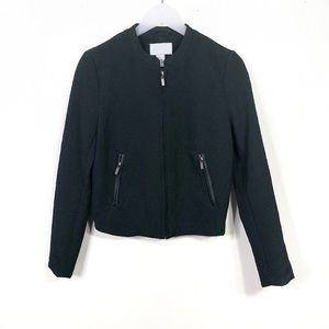 Black Textured Bomber Zip-Up Jacket Size 8